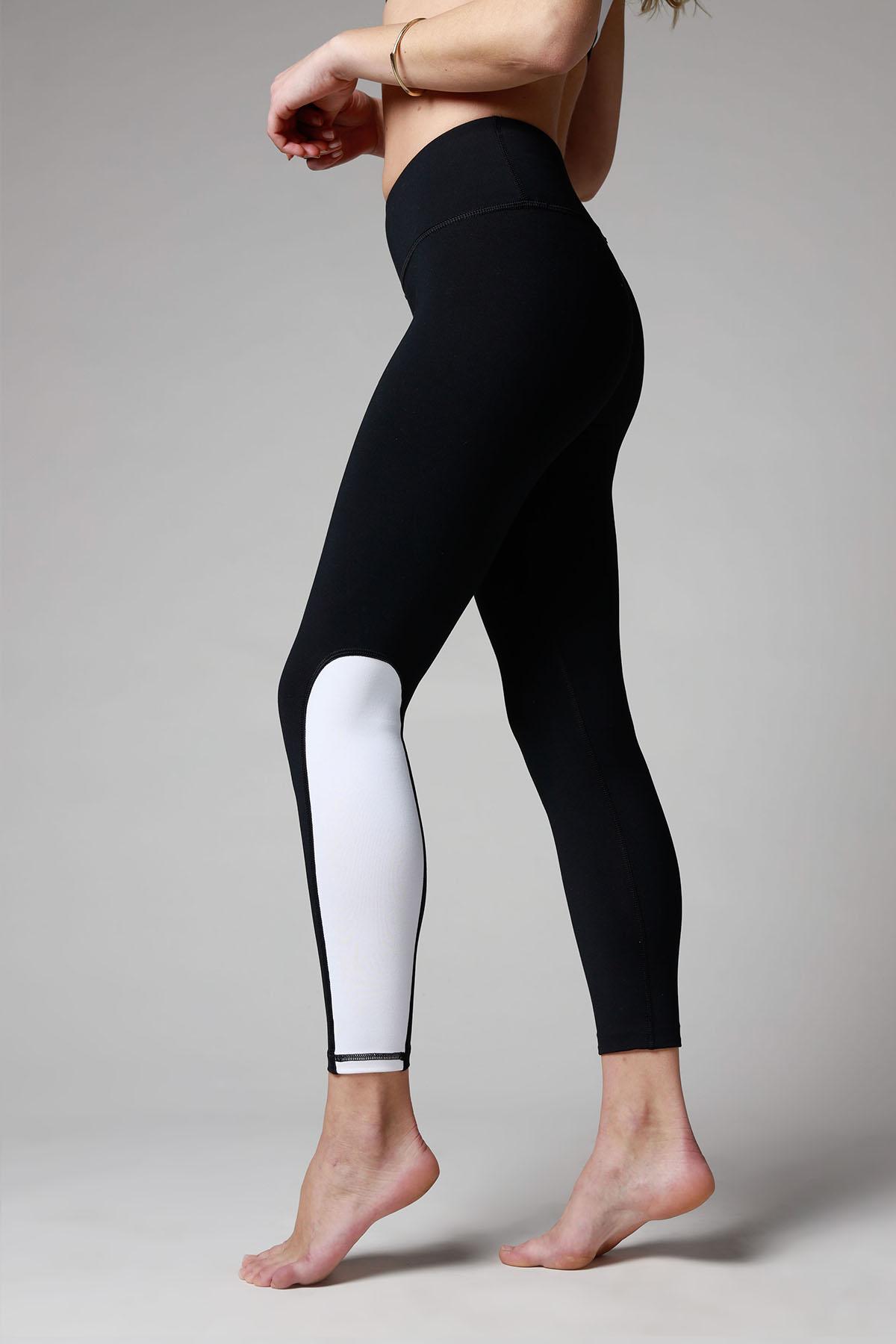 Ravello Half Panel Leggings Black White Certo Apparel Leggings Tops And Sports Bras